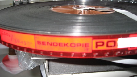 Close-up of a German ORF/ZDF 16mm positive film reel